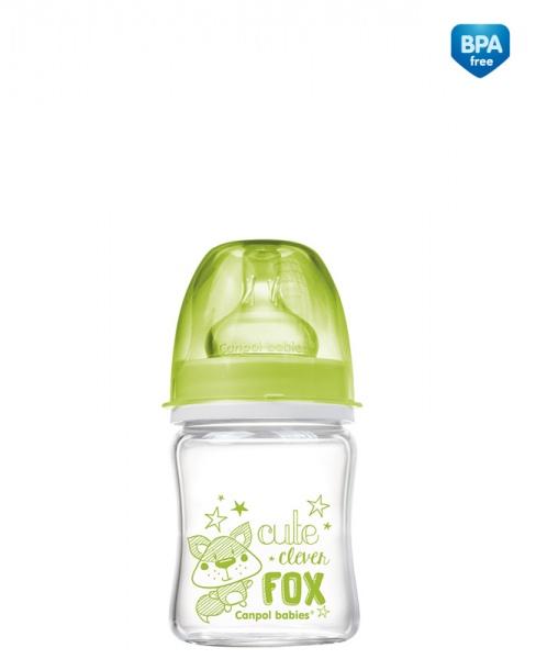 Butelka do karmienia szklana Canpol Babies EasyStart 120 ml kolor Zielony