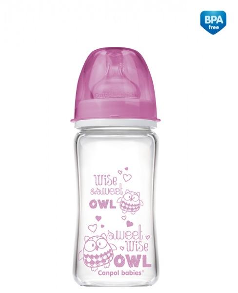 Butelka do karmienia szklana Canpol Babies EasyStart 240 ml kolor Różowy