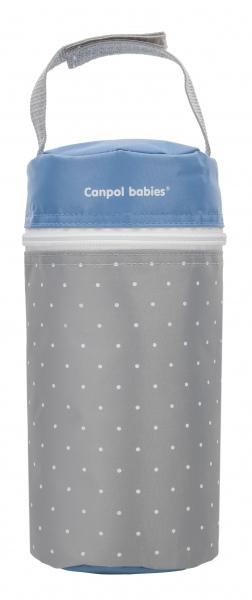 Termoopakowanie do butelek uniwersalne Canpol Babies Kropki kolor Szaro niebieski