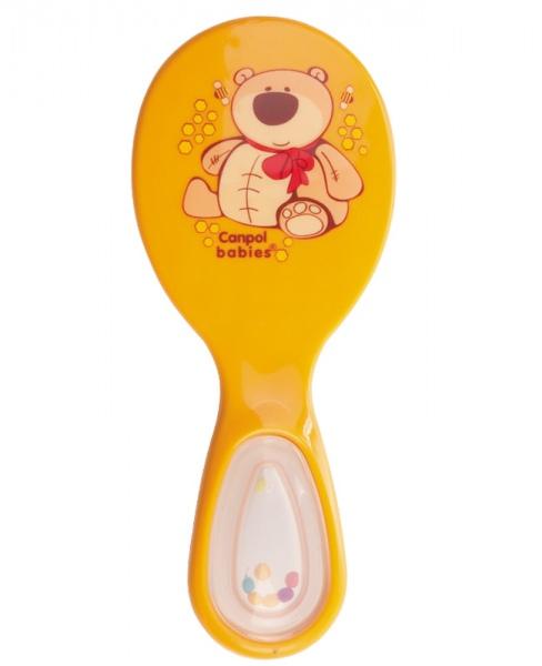 Delikatna szczotka do włosów dla dzieci Canpol Babies z włosia sztucznego grzechotka w rączce Żółty