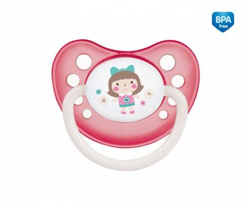 Kauczukowy smoczek do uspokajania anatomiczny nocny świecący w ciemności Canpol Babies 0-6m kolor Różowy