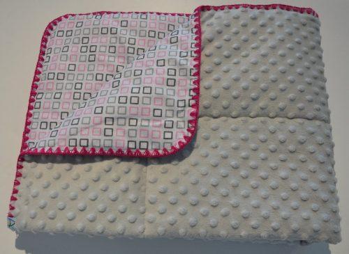 Bubbles kocyk minky Szary kwadraciki - różowy 75x100