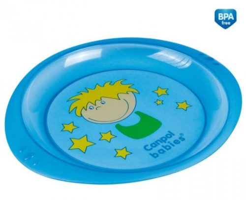Talerzyk z kolorową aplikacją Canpol Babies Niebieski Chłopiec