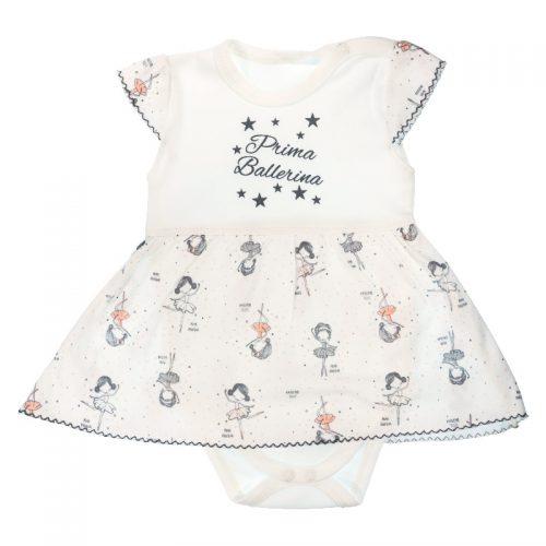 Sukienko body dla dziewczynki krótki rękaw Baletnica Mamtti 80