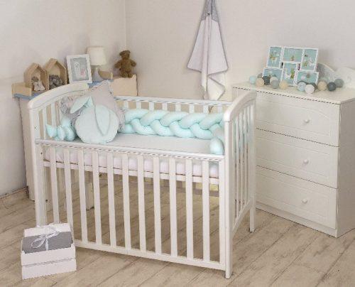 Warkocz do łóżeczka 210cm  kokon dla niemowląt 2w1 Amy miętowy