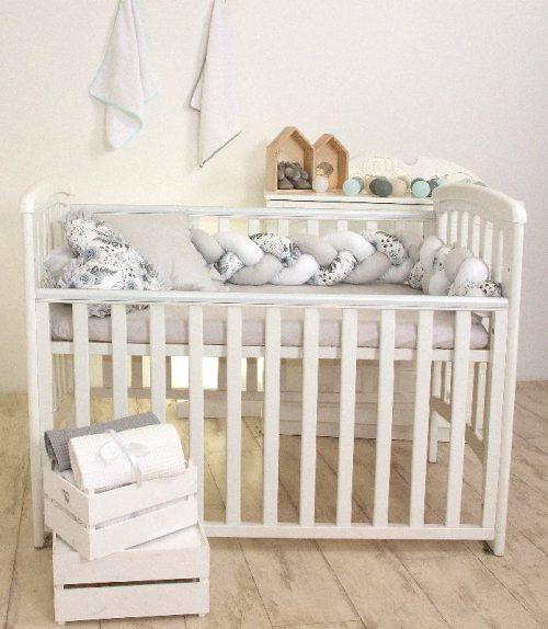 Kokon dla niemowląt – warkocz 210cm Amy biały szary róża  szary