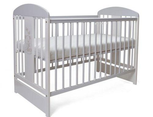 Łóżeczko z opuszczonym bokiem 120x60  T20 Miś + Gryzak gratis Tomi Szary Biały