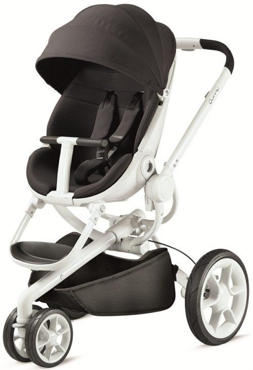 Nowoczesny trójkołowy wózek spacerowy Quinny Moodd, kolor Black Irony