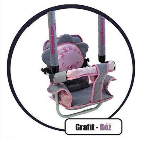 Super bezpieczna huśtawka Luna firmy Adbor dla dzieci do 20 kg Grafitowo różowy