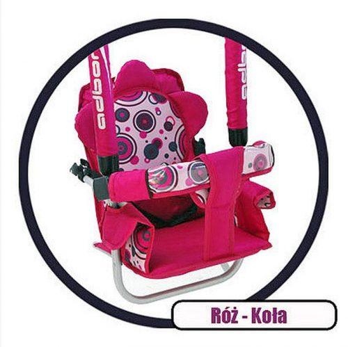 Super bezpieczna huśtawka Luna firmy Adbor dla dzieci do 20 kg Różowe koła