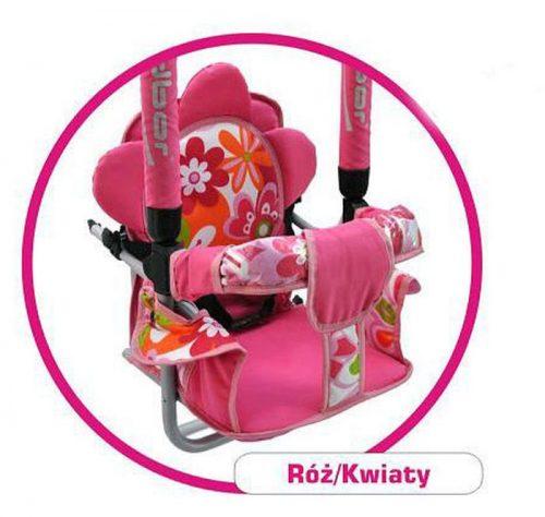 Super bezpieczna huśtawka Luna firmy Adbor dla dzieci do 20 kg Różowe kwiaty