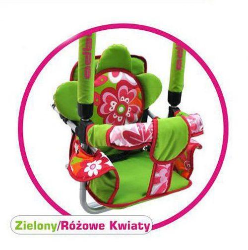 Super bezpieczna huśtawka Luna firmy Adbor dla dzieci do 20 kg Zielony różowe kwiaty