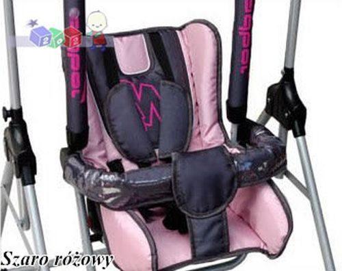 Bezpieczna huśtawka dla dzieci N1 firmy Adbor Szaro różowy