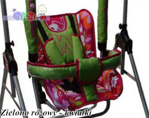 Bezpieczna huśtawka dla dzieci N1 firmy Adbor Zielony różowe kwiaty