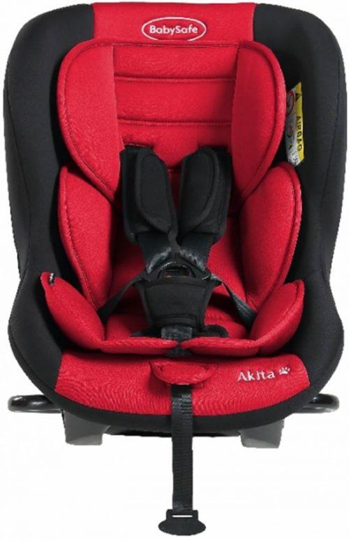 Fotelik samochodowy tylko tyłem do kierunku jazdy BabySafe Akita 0-18 KG Test Plus kolor Czerwony