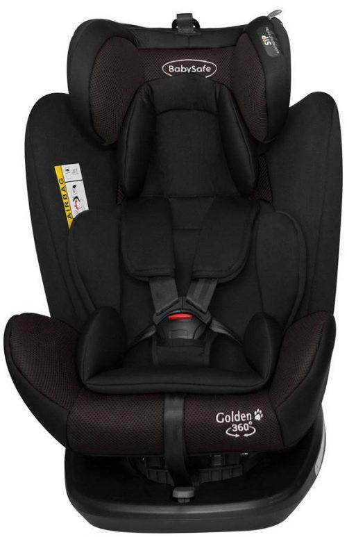 Obrotowy fotelik samochodowy BabySafe Golden 360 0-36 kg przodem i tyłem do kierunku jazdy kolor Czarny