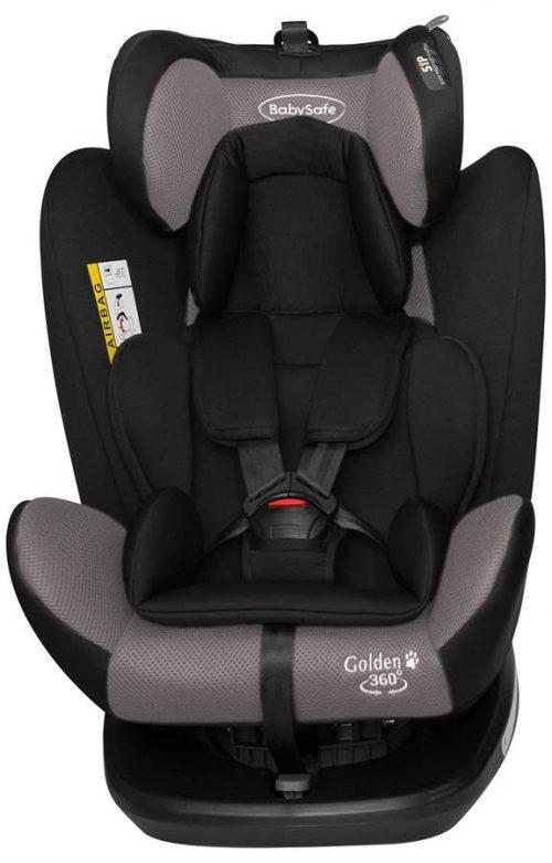Obrotowy fotelik samochodowy BabySafe Golden 360 0-36 kg przodem i tyłem do kierunku jazdy kolor Szary