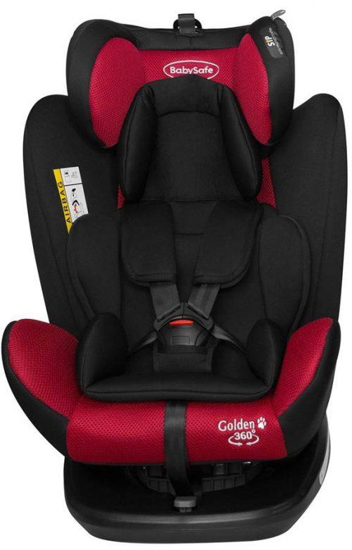 Obrotowy fotelik samochodowy BabySafe Golden 360 0-36 kg przodem i tyłem do kierunku jazdy kolor Czerwony