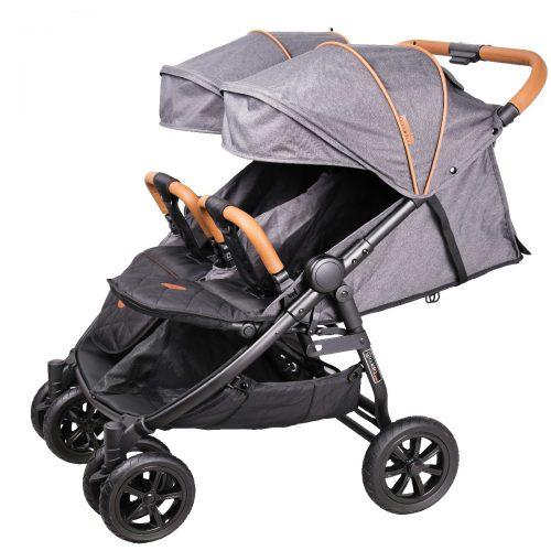 Wózek spacerowy dla bliźniąt Coletto Enzo Twin wózki spacerowe bliźniacze Dark Grey
