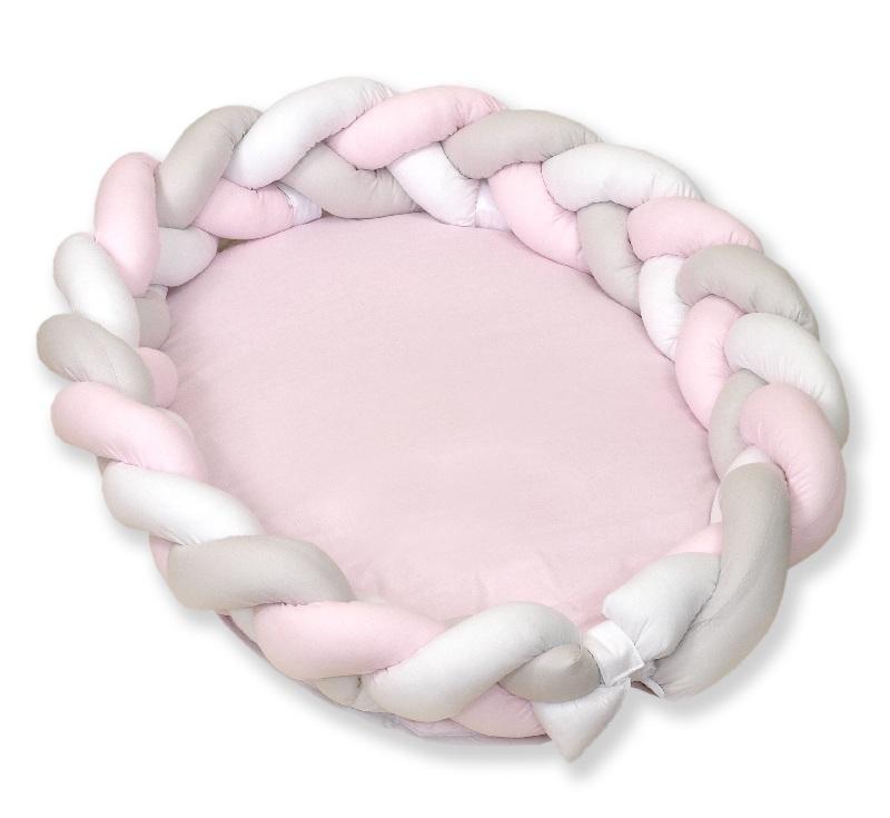 Warkocz do łóżeczka 210cm kokon dla niemowląt 2w1 Amy Biały szary różowy