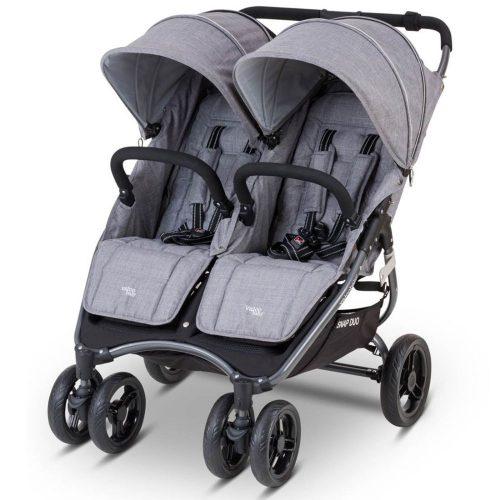 Wózek spacerowy dla bliźniąt Valco Baby Snap Duo Tailor Made tylko 9.8 KG kolor Grey Marle + GRATIS