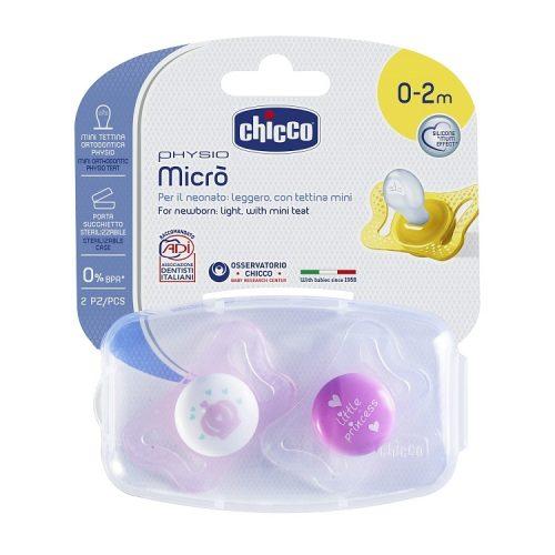Smoczek uspokajający anatomiczy silikon Physio Micro 0-2m Chicco korona księżyc