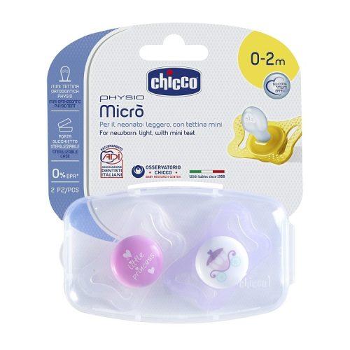 Smoczek uspokajający anatomiczy silikon Physio Micro 0-2m Chicco kareta księżyc