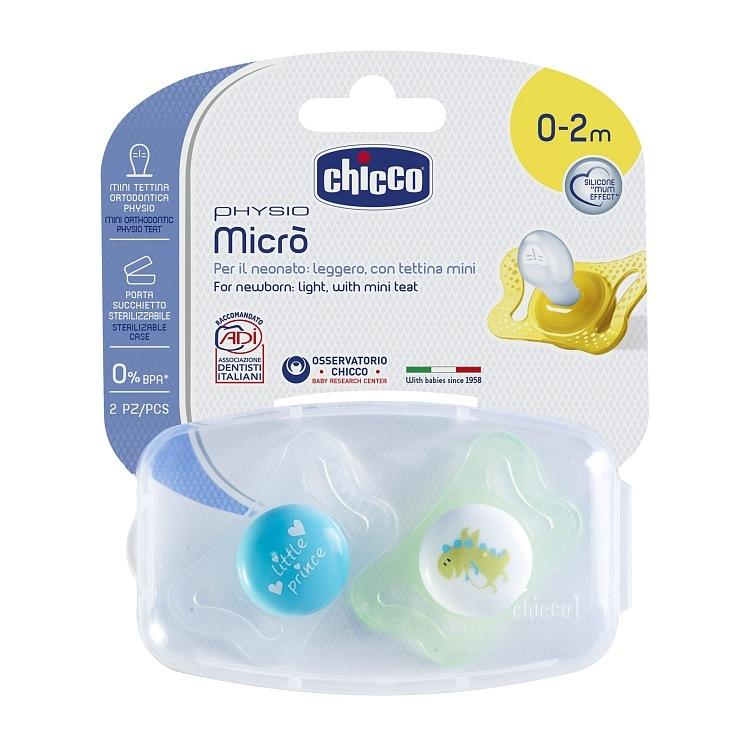 Smoczek Physio Micro 0-2m uspokajający silikonowy anatomiczy Chicco książe dino
