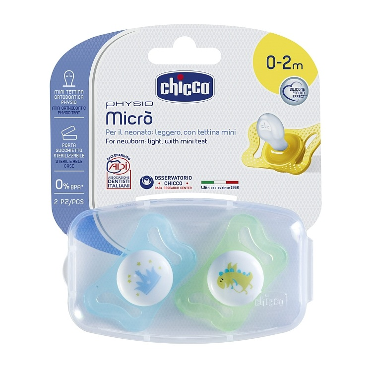 Smoczek Physio Micro 0-2m uspokajający silikonowy anatomiczy Chicco korona dino