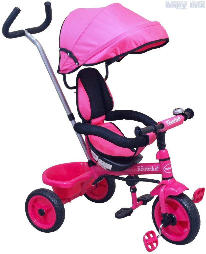 Rowerek trójkołowy z pchaczem EcoTrike różowy