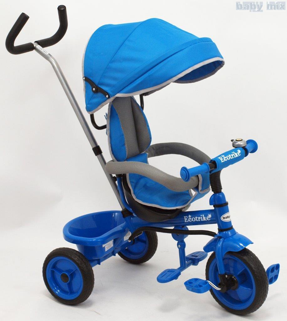 Rowerek trójkołowy z pchaczem EcoTrike niebieski
