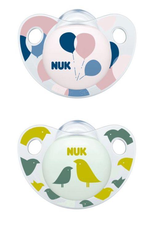 Smoczek uspokajajacy silikonowy Adore Nuk 18-36 miesięcy 2 szt ptaszki i balony