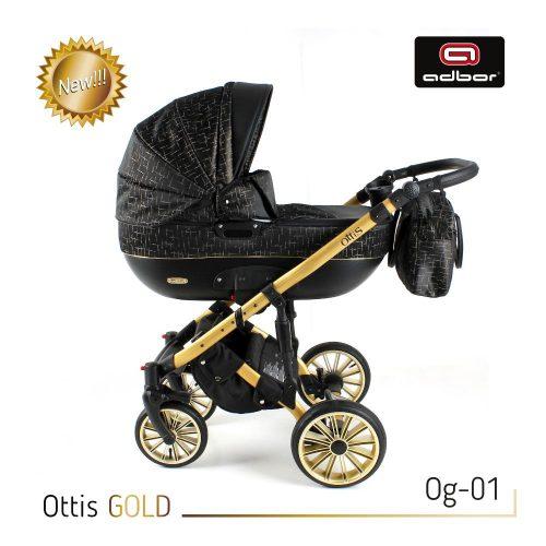 Wózek wielofunkcyjny 3w1 Adbor Ottis Gold z fotelikiem Capri 0-10 kg, kolor Og-02