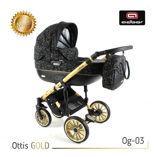 Wózek wielofunkcyjny 3w1 Adbor Ottis Gold z fotelikiem Capri 0-10 kg, kolor Og-03