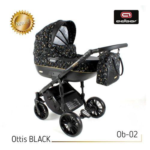 Wózek wielofunkcyjny 3w1 Adbor Ottis Black z fotelikiem Capri 0-10 kg, kolor Ob-02