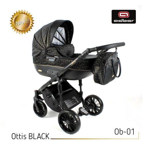 Wózek wielofunkcyjny 3w1 Adbor Ottis Black z fotelikiem Capri 0-10 kg, kolor Ob-01