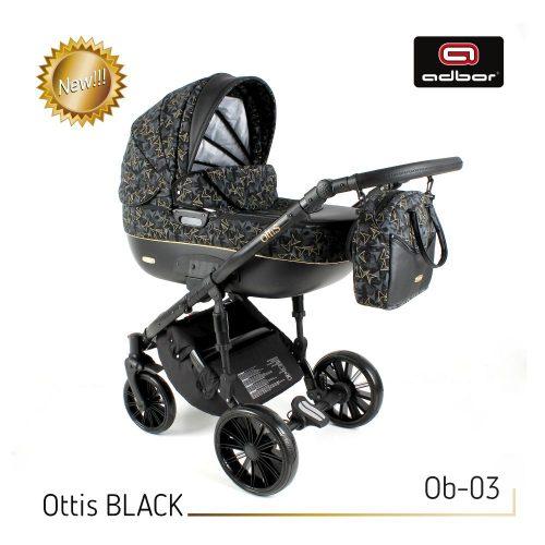 Wózek wielofunkcyjny 3w1 Adbor Ottis Black z fotelikiem Capri 0-10 kg, kolor Ob-03
