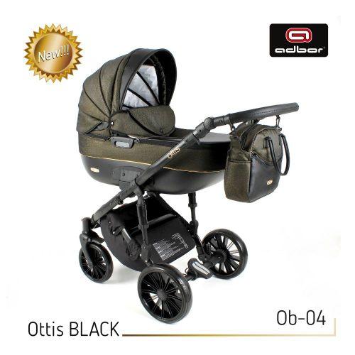 Wózek wielofunkcyjny 3w1 Adbor Ottis Black z fotelikiem Capri 0-10 kg, kolor Ob-04
