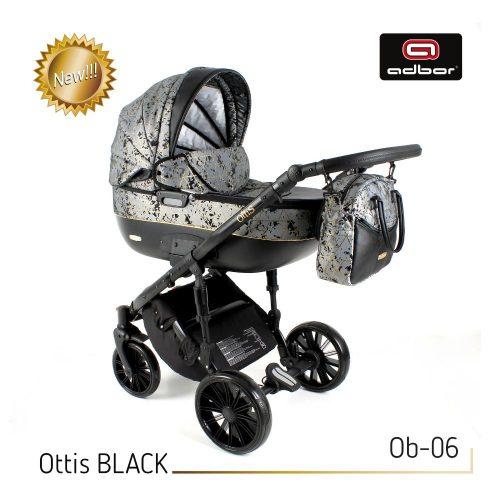 Wózek wielofunkcyjny 3w1 Adbor Ottis Black z fotelikiem Capri 0-10 kg, kolor Ob-06