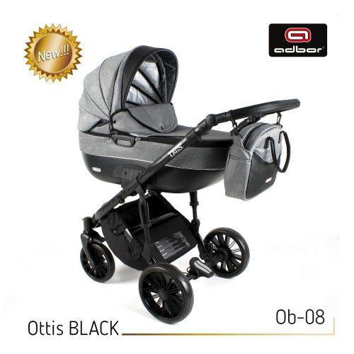 Wózek wielofunkcyjny 3w1 Adbor Ottis Black z fotelikiem Capri 0-10 kg, kolor Ob-08