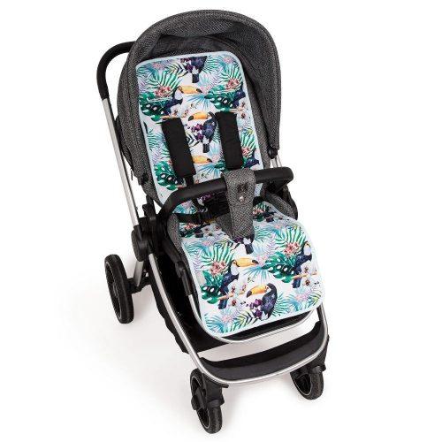 Wkładka do wózka spacerowego dwustronna  Velvet + bawełna Ceba Baby Flora Tucan