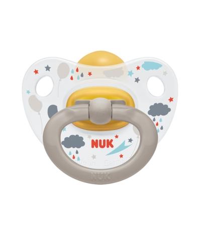 Kauczukowy smoczek lateksowy uspokajający 0-6 Happy Kids Nuk szary