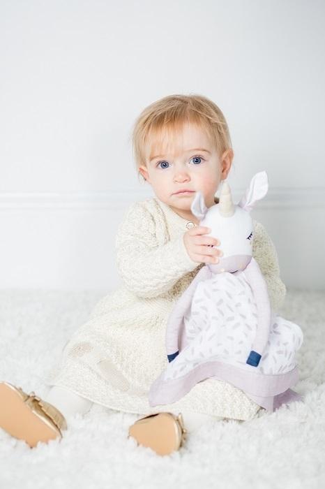 Przytulanka dla niemowląt muślinowa kocyk z bambusu Jednorożec Lulujo