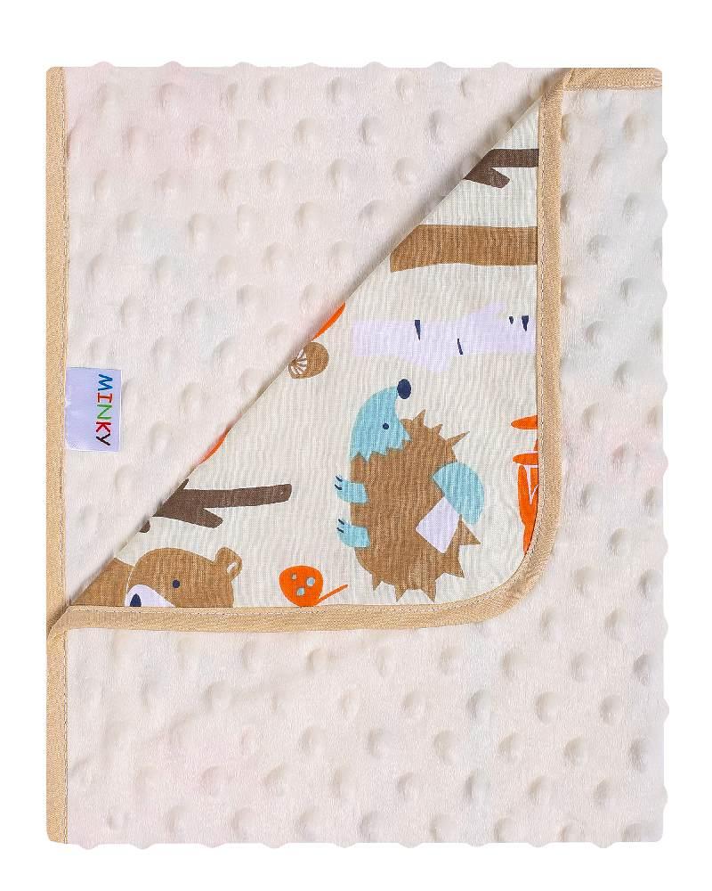 Podwójny kocyk minky + bawełna 80x90 cm ecru las
