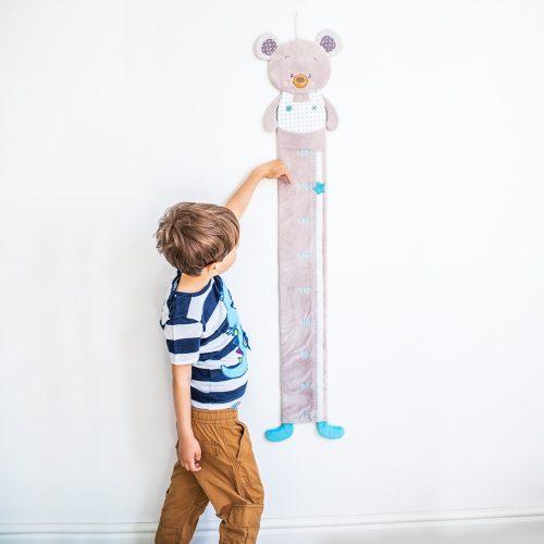 Miarka wzrostu niebieski miś Babyono Bear Tony