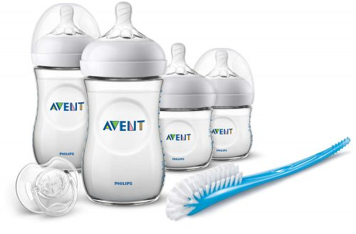 Zestaw startowy 4 butelki smoczek szczotka Avent Natural
