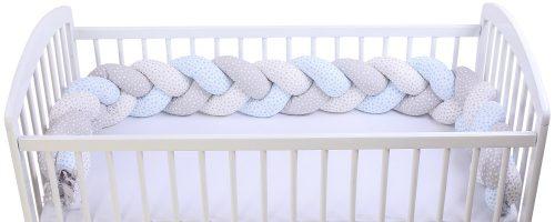 Warkocz ochraniacz do łóżeczka jersey Biały szary niebieski
