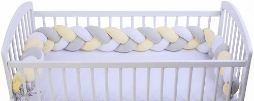 Warkocz ochraniacz do łóżeczka jersey biały szary krem