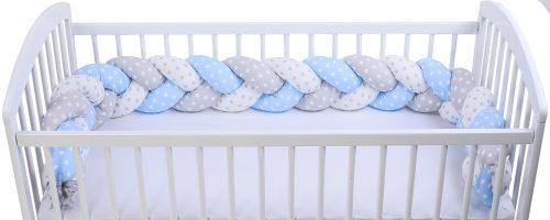 Warkocz ochraniacz do łóżeczka dziecięcego druk gwiazdki biały szary niebieski