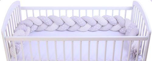 Warkocz ochraniacz do łóżeczka dziecięcego druk gwiazdki i grochy szare 220cm